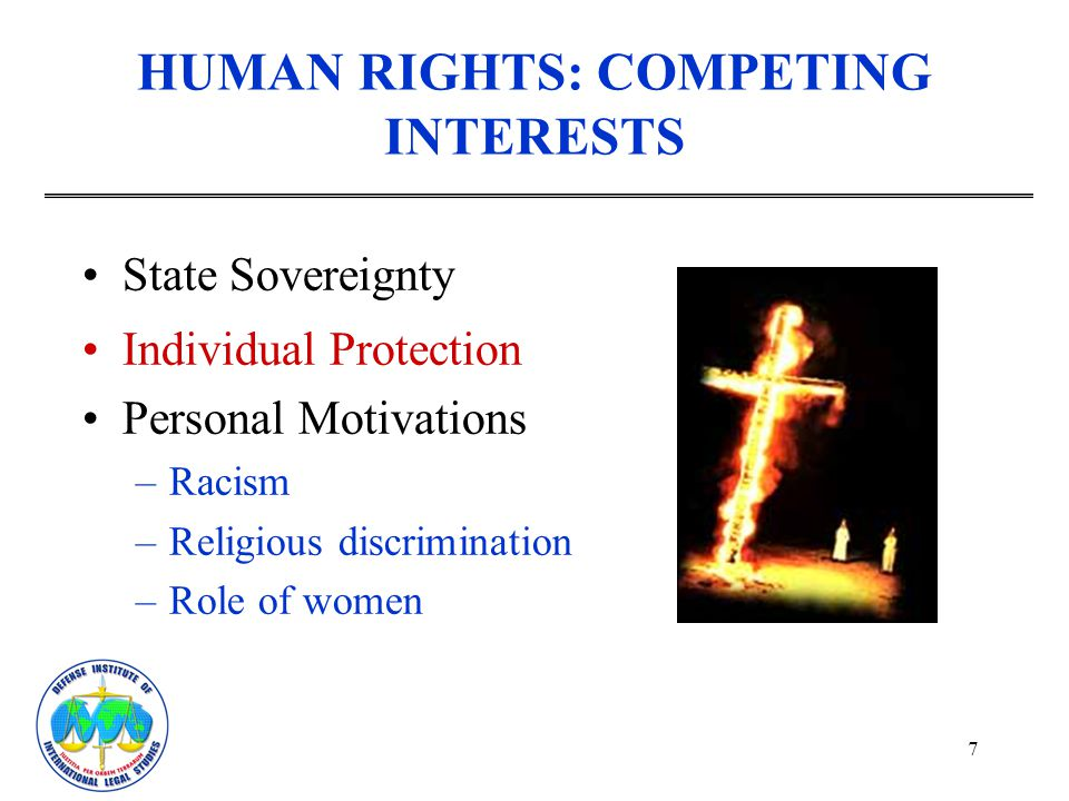 HUMAN RIGHTS: COMPETING INTERESTS