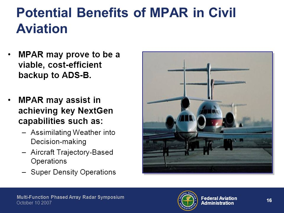 Potential Benefits of MPAR in Civil Aviation