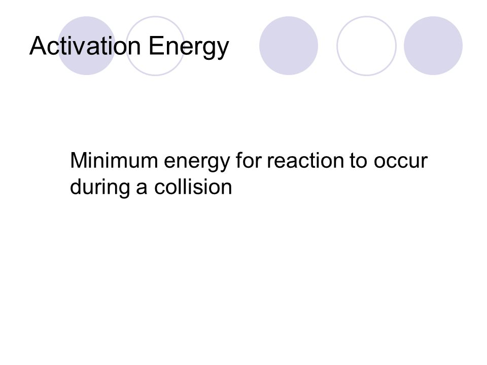 Activation Energy Minimum energy for reaction to occur during a collision