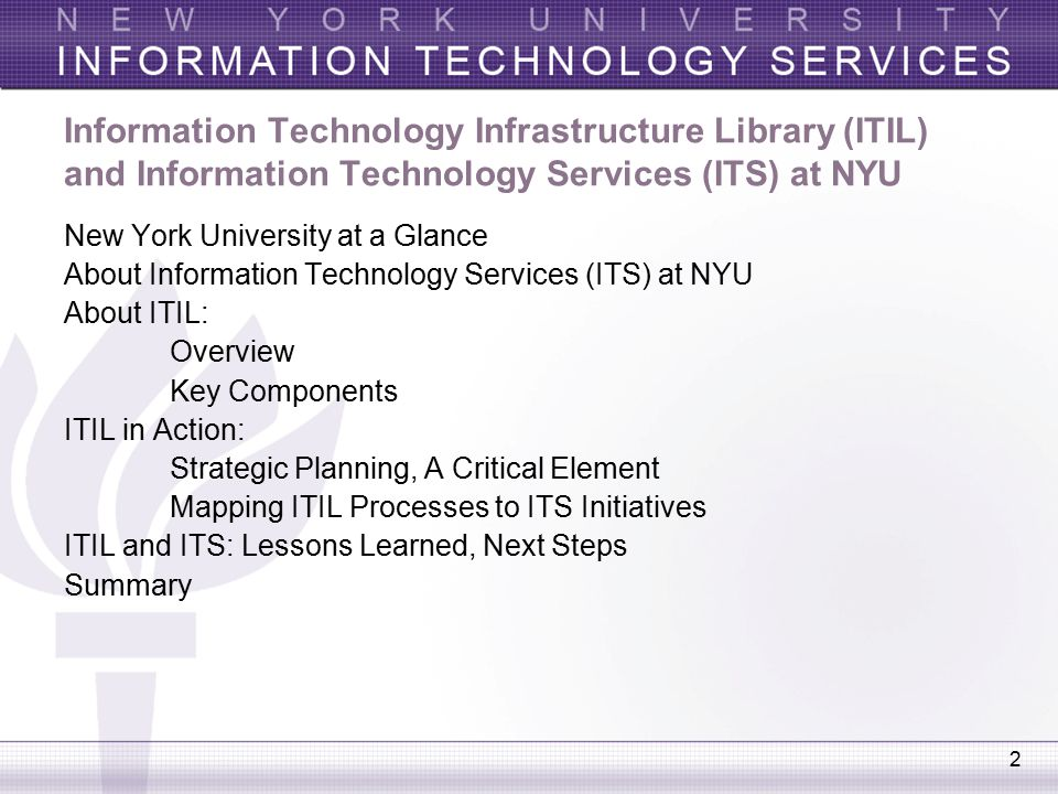 ITIL in the Real World: NYU Leverages ITIL Best Practices to