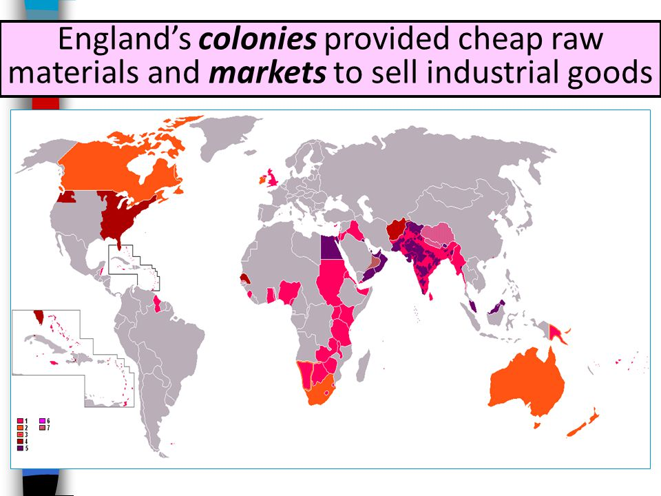 England's colonies provided cheap raw materials and markets to sell industrial goods