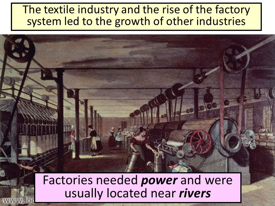Factories needed power and were usually located near rivers