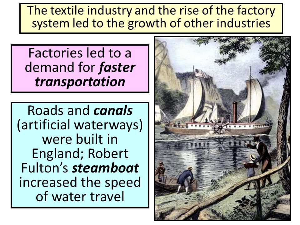 Factories led to a demand for faster transportation