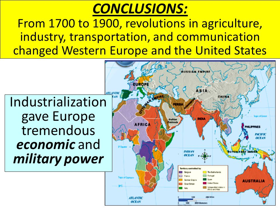 Industrialization gave Europe tremendous economic and military power