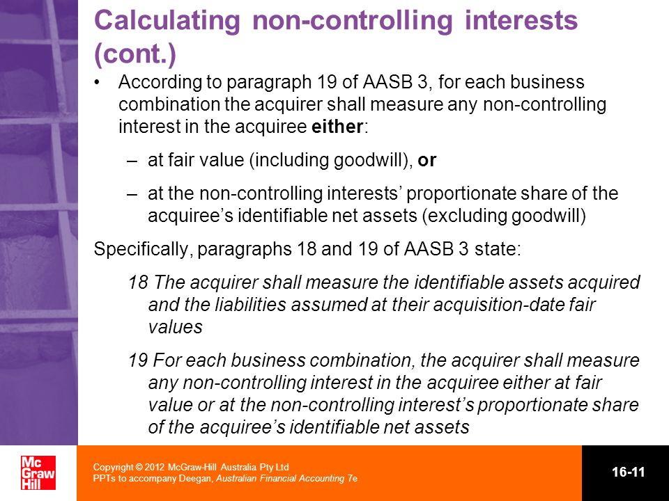 Calculating non-controlling interests (cont.)