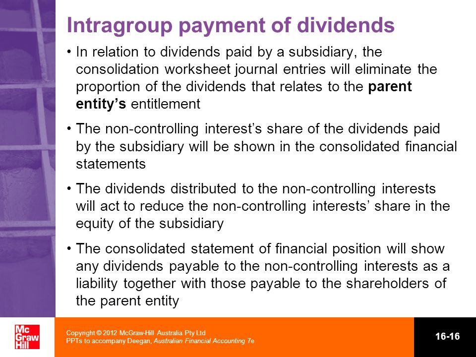 Intragroup payment of dividends