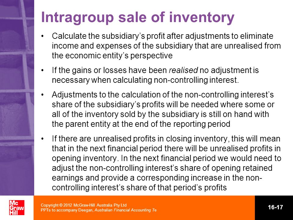 Intragroup sale of inventory