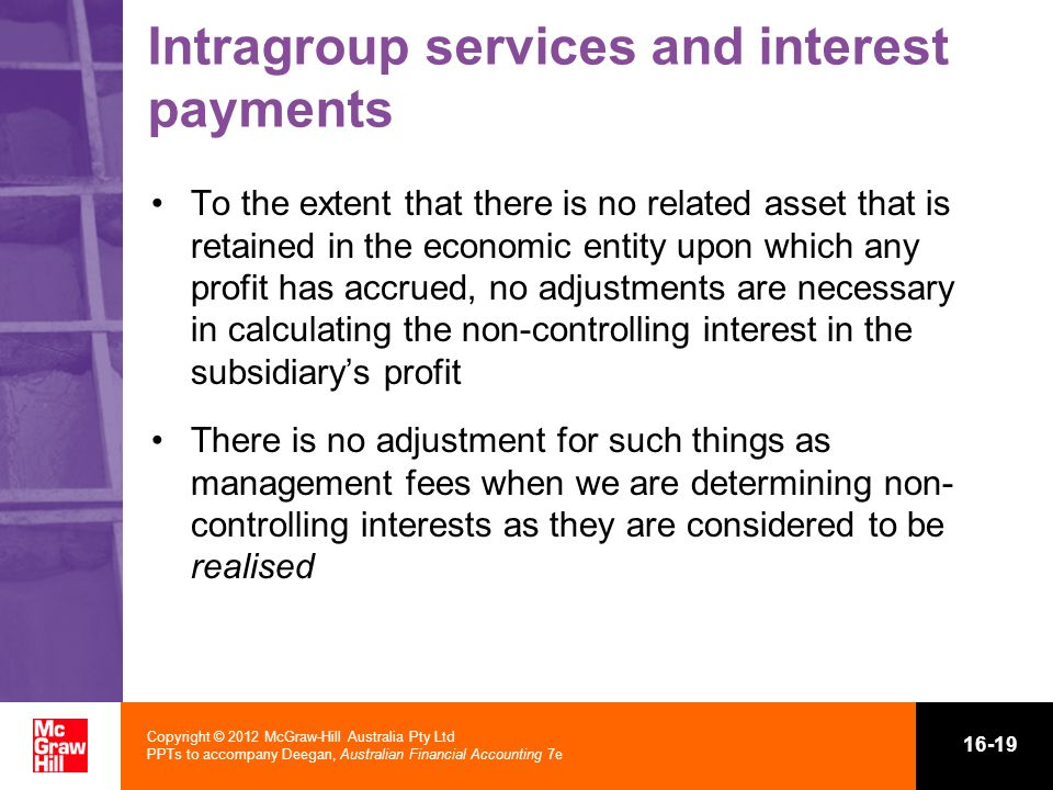 Intragroup services and interest payments