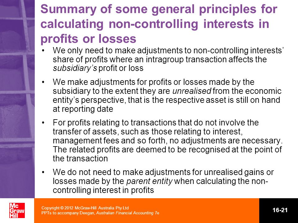 Summary of some general principles for calculating non-controlling interests in profits or losses