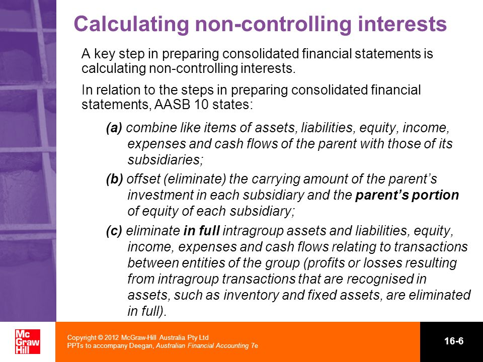 Calculating non-controlling interests