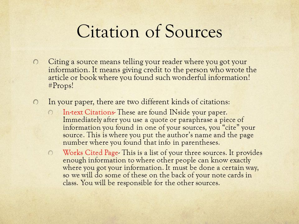 Citation of Sources