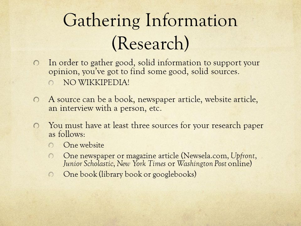Gathering Information (Research)