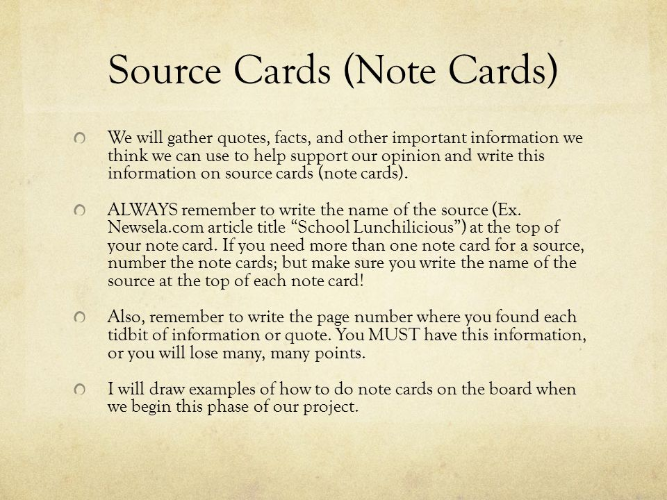 Source Cards (Note Cards)