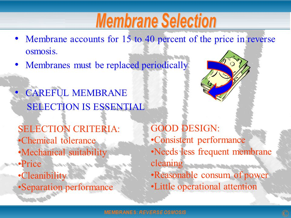 Membrane Selection Membrane accounts for 15 to 40 percent of the price in reverse osmosis. Membranes must be replaced periodically.