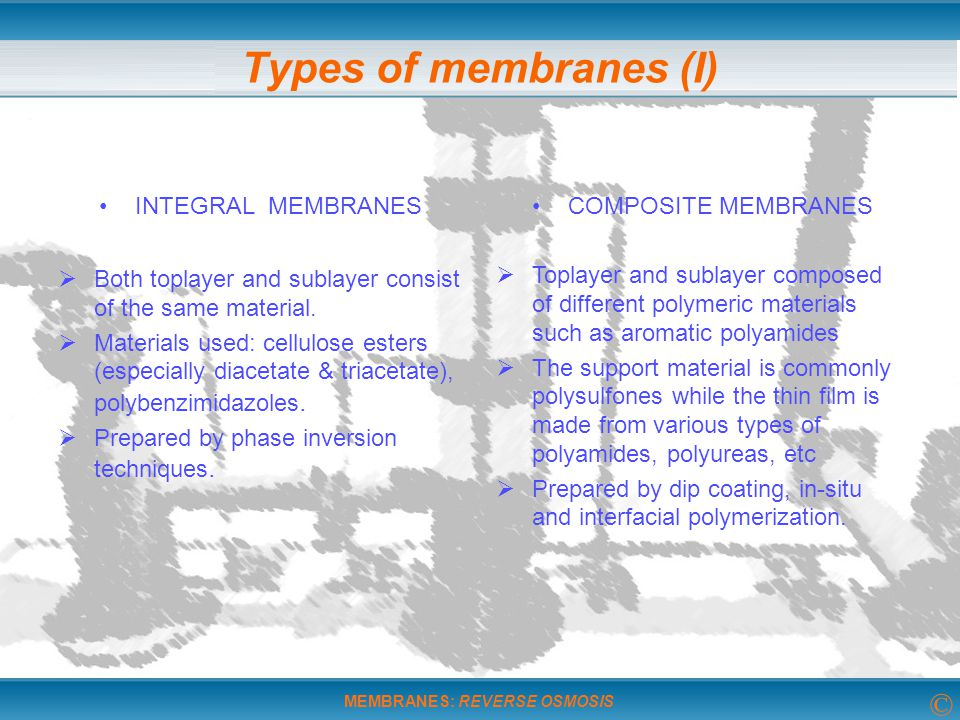 Types of membranes (I) INTEGRAL MEMBRANES