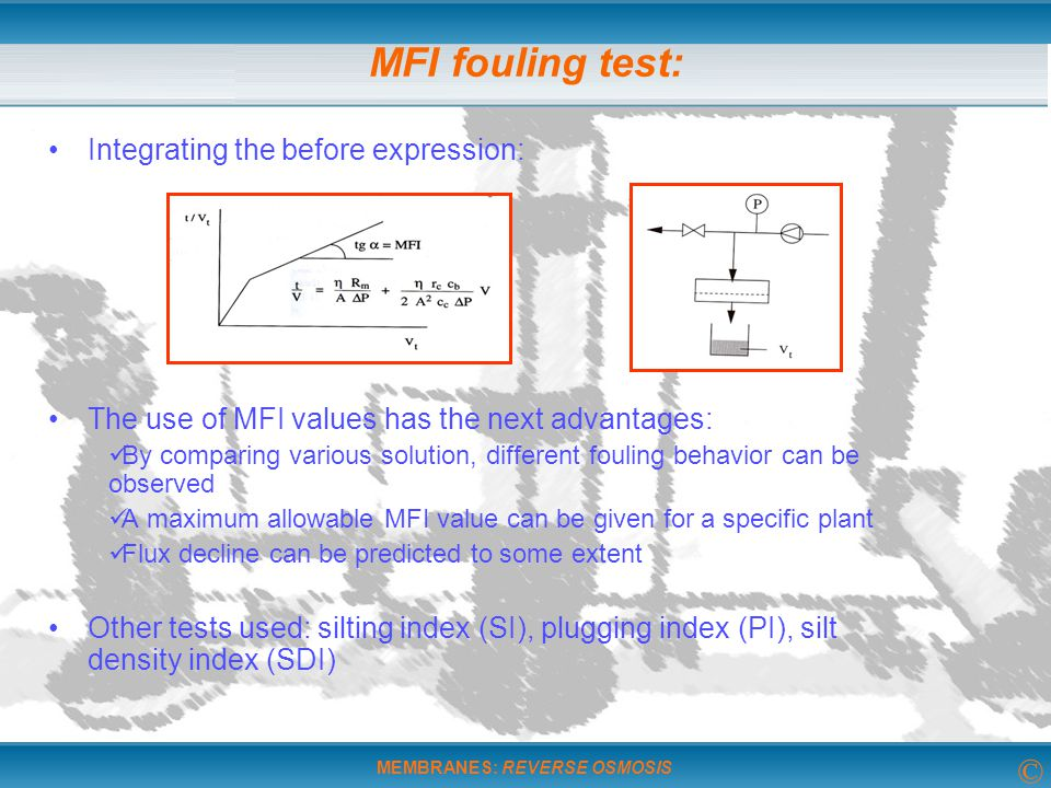 MFI fouling test: Integrating the before expression: