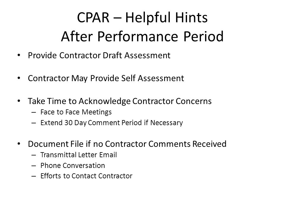 Contractor Performance Assessment Reporting System - ppt video ...