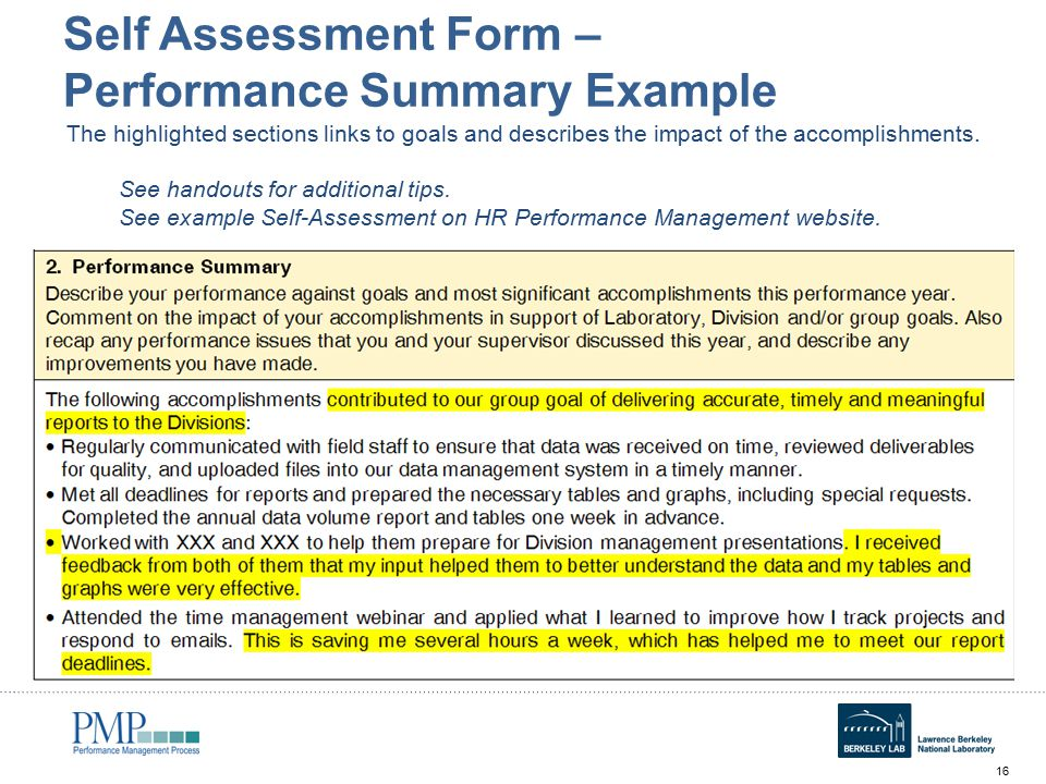 Perf accomplishments self assessment | reliability engineering.