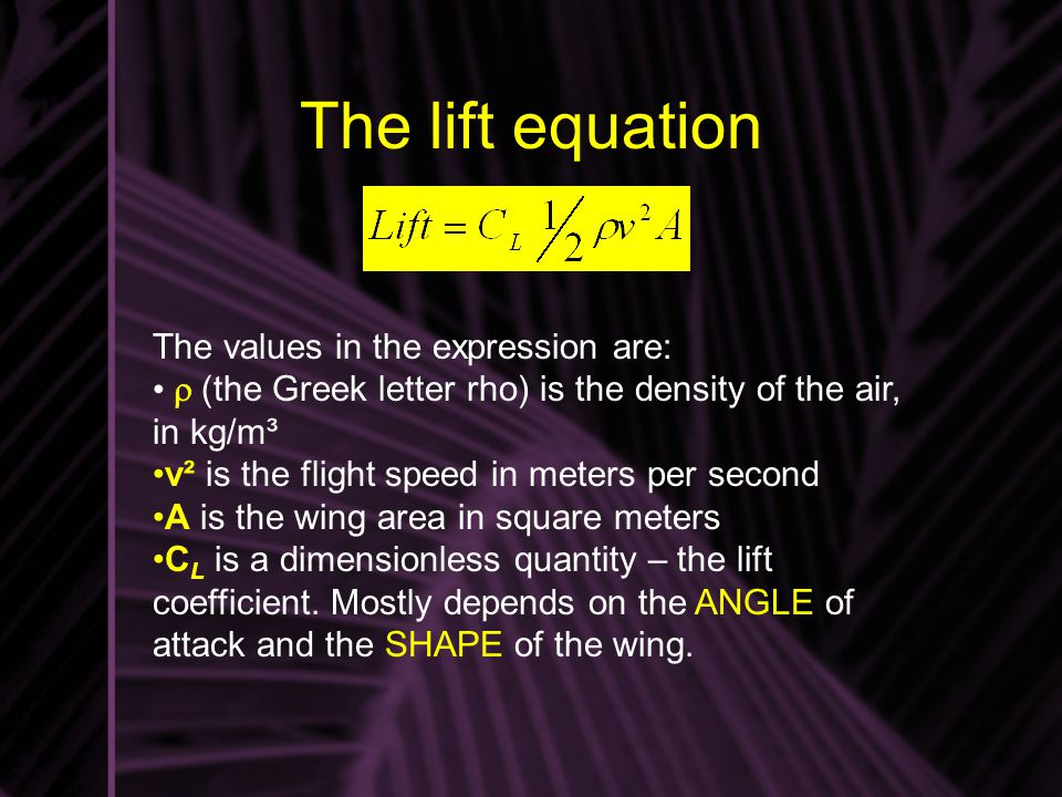 The lift equation The values in the expression are: