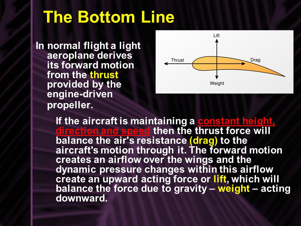 The Bottom Line In normal flight a light aeroplane derives its forward motion from the thrust provided by the engine-driven propeller.