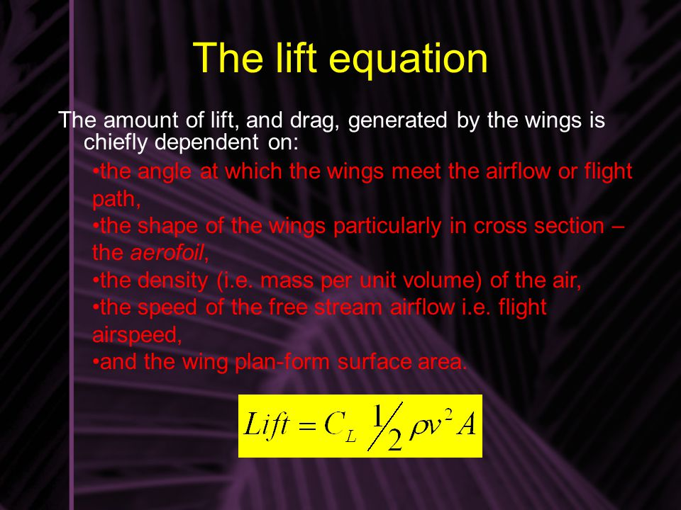 The lift equation The amount of lift, and drag, generated by the wings is chiefly dependent on: