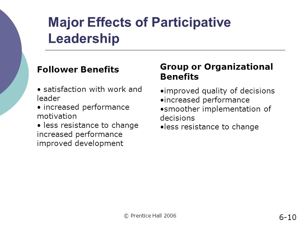 major effects of participative leadership