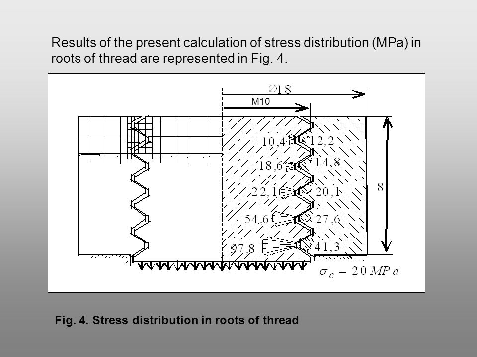 ANALYSIS OF STRESS DISTRIBUTION IN ROOTS OF BOLT THREADS
