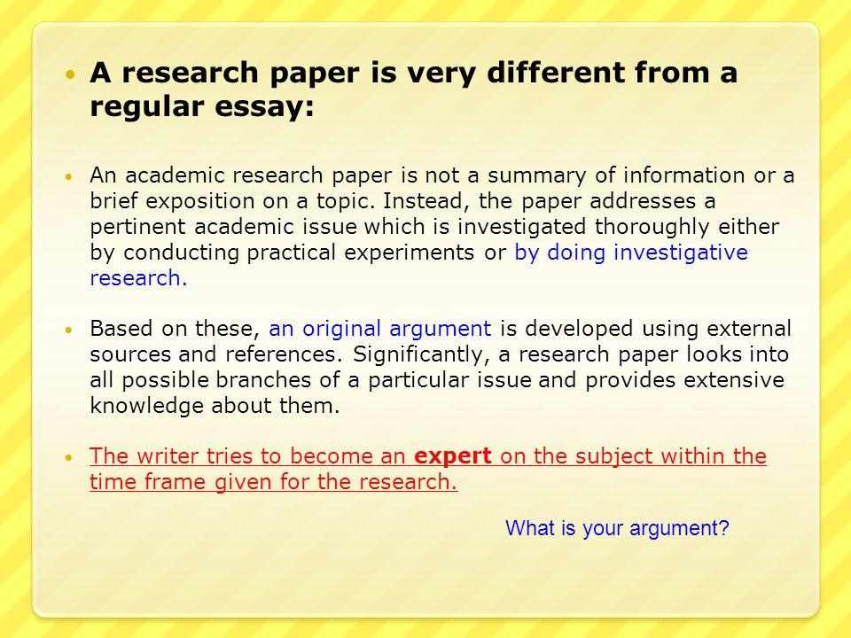 How To Write An Essay Proposal Example A Research Paper Is Very Different From A Regular Essay The Yellow Wallpaper Essays also Essay My Family English Initial Student Reaction To The Words Research Paper Were  Ppt  Should Condoms Be Available In High School Essay
