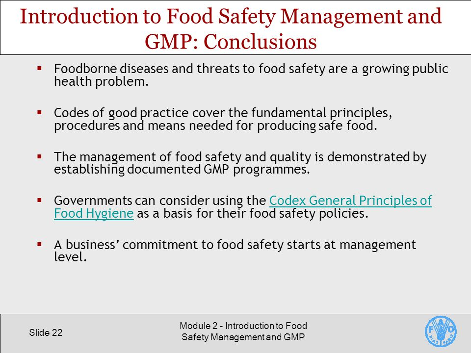 Introduction to Food Safety Management and GMP - ppt video online