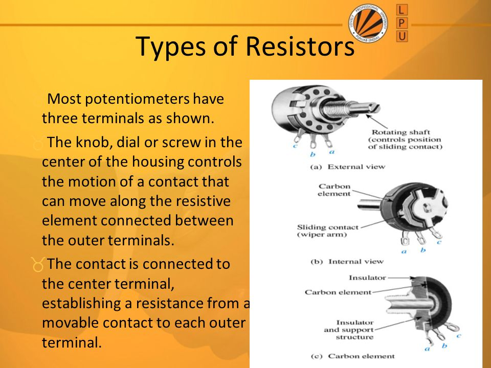 Types of Resistors Most potentiometers have three terminals as shown.