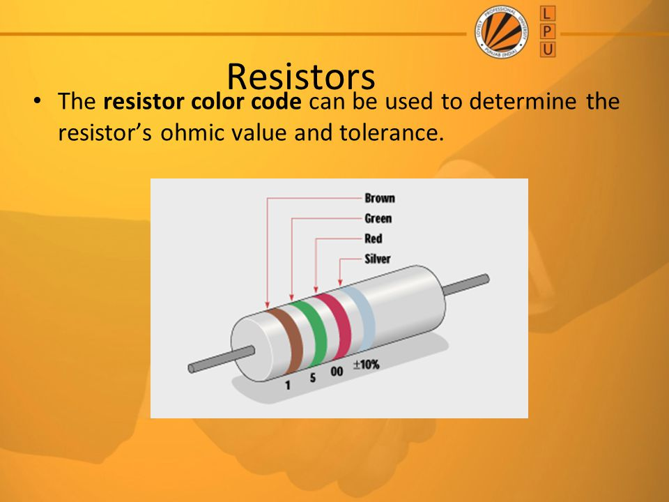 Resistors The resistor color code can be used to determine the resistor's ohmic value and tolerance.