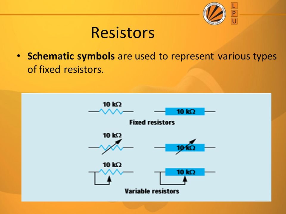Resistors Schematic symbols are used to represent various types of fixed resistors.