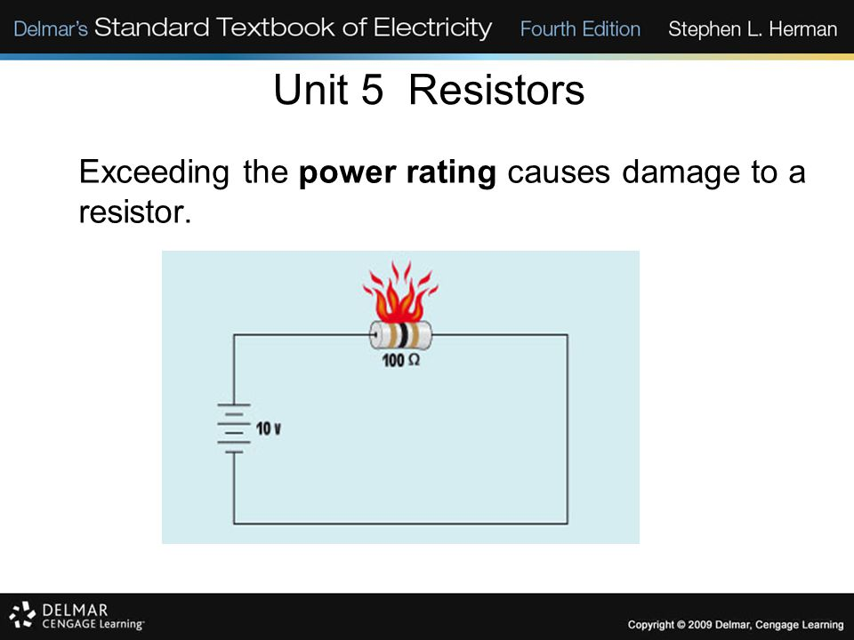Unit 5 Resistors Exceeding the power rating causes damage to a resistor. 5-13