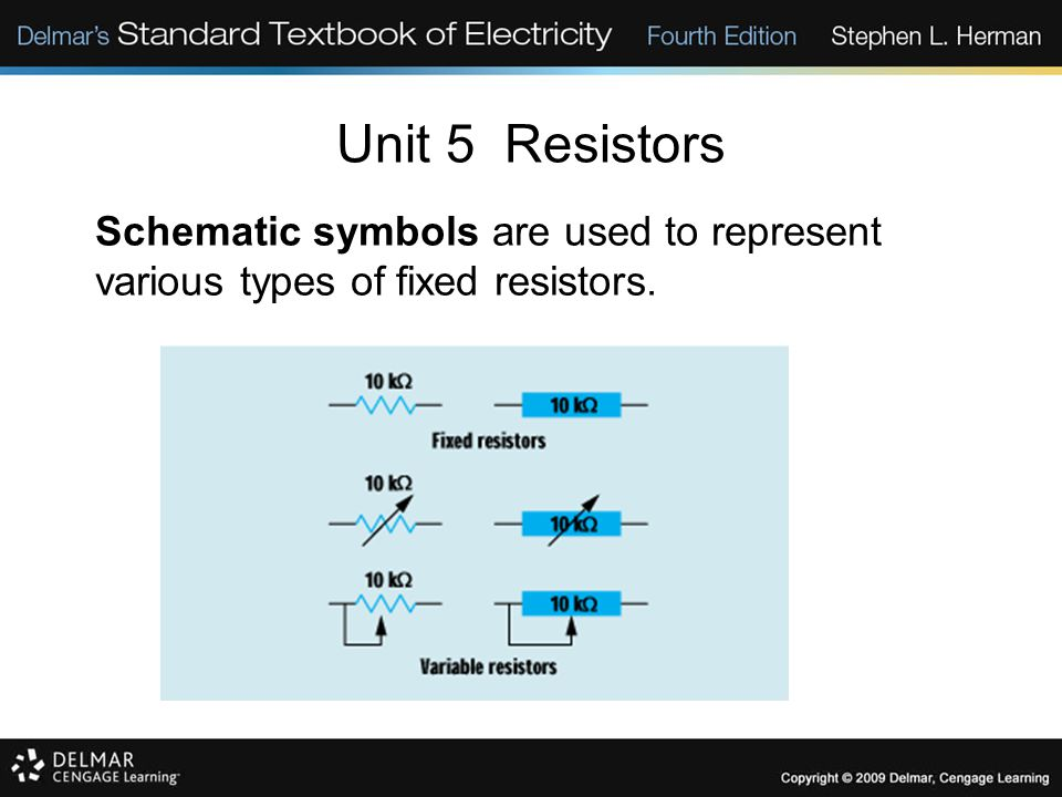 Unit 5 Resistors Schematic symbols are used to represent various types of fixed resistors. 5-19