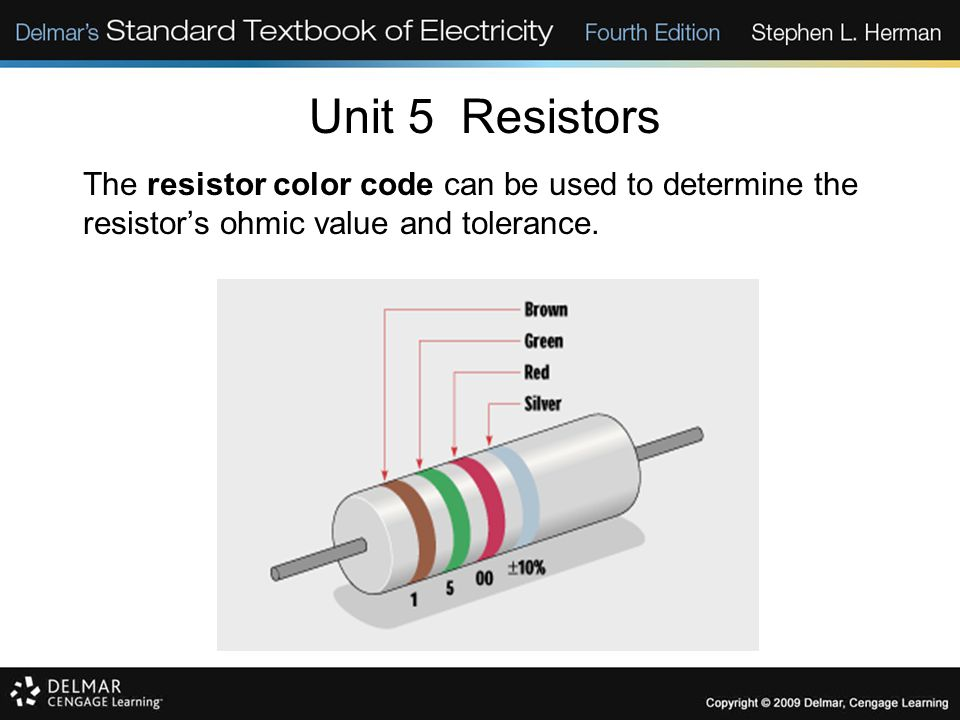 Unit 5 Resistors The resistor color code can be used to determine the resistor's ohmic value and tolerance.