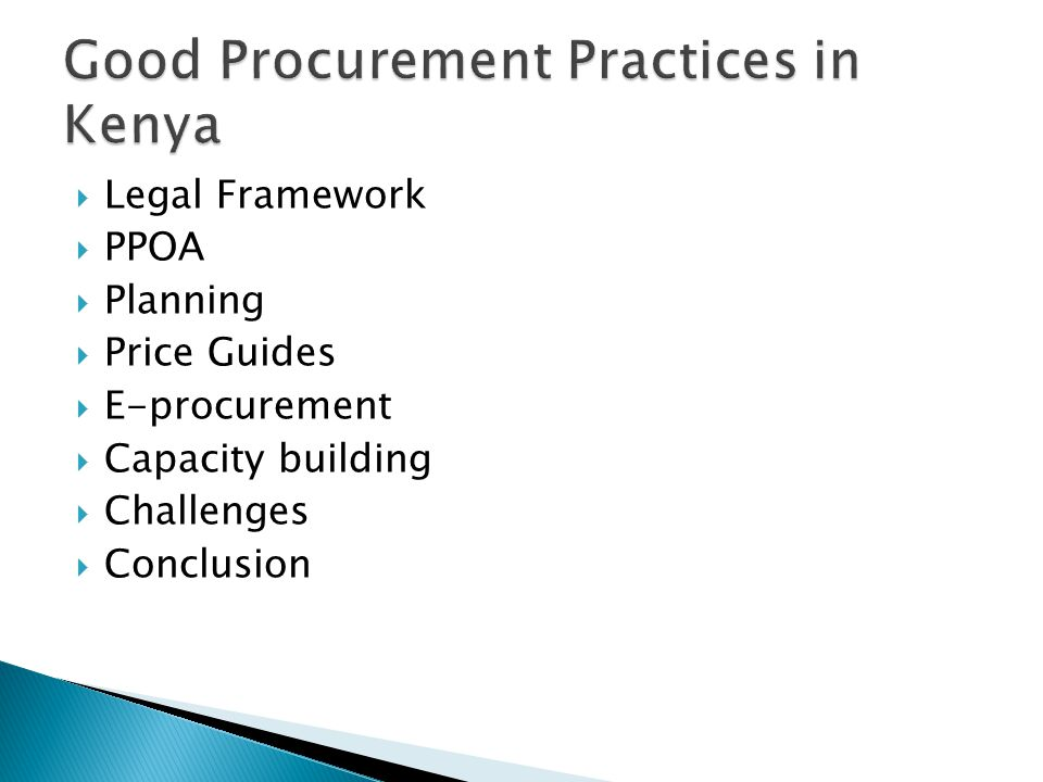 Good Procurement Practices in Kenya