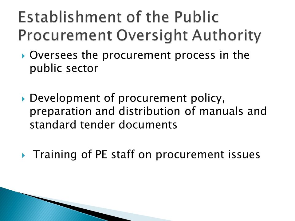 Establishment of the Public Procurement Oversight Authority