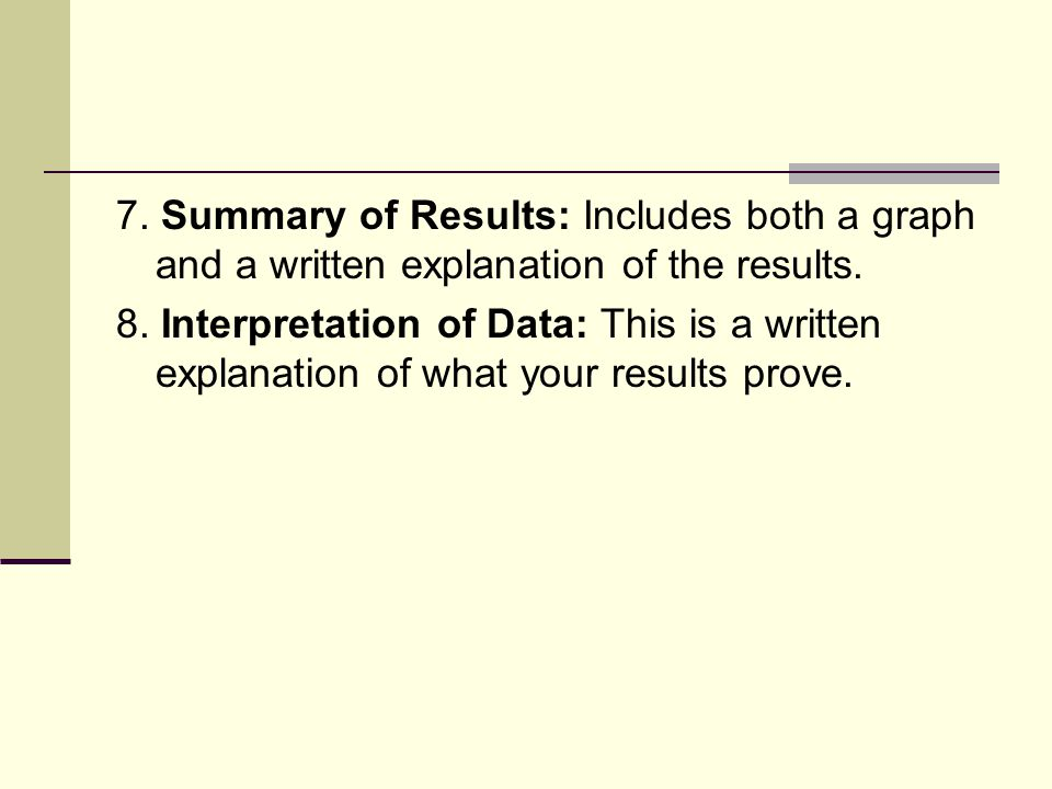 7. Summary of Results: Includes both a graph and a written explanation of the results.