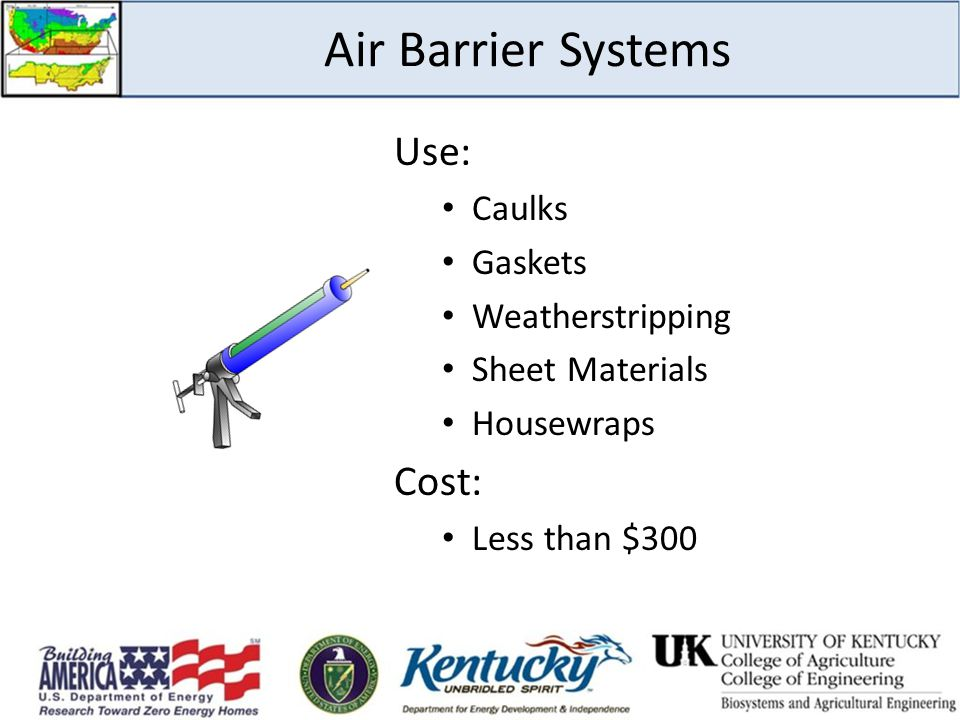 Air Barrier Systems Use: Cost: Caulks Gaskets Weatherstripping