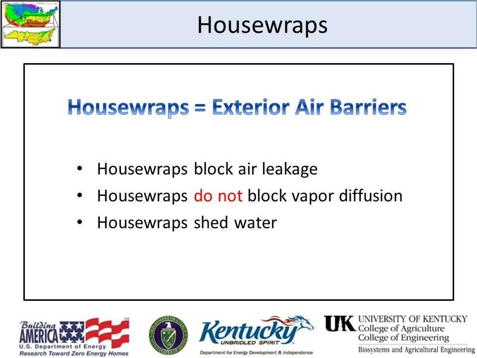 Housewraps = Exterior Air Barriers