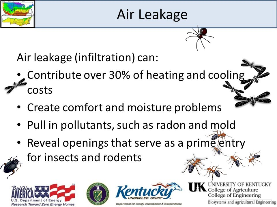 Air Leakage Air leakage (infiltration) can:
