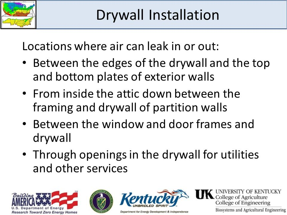 Drywall Installation Locations where air can leak in or out: