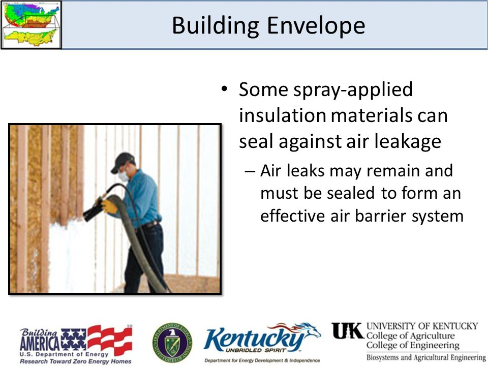 Building Envelope Some spray-applied insulation materials can seal against air leakage.
