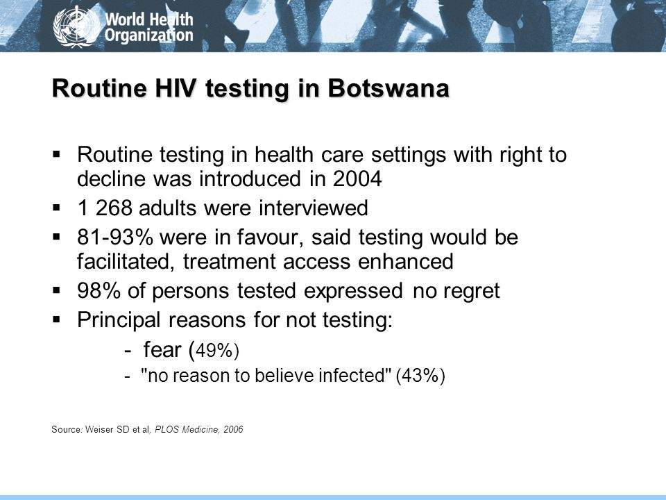 Routine HIV testing in Botswana