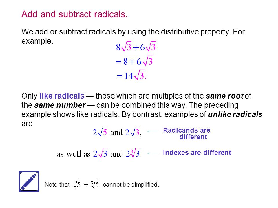 Add and subtract radicals.