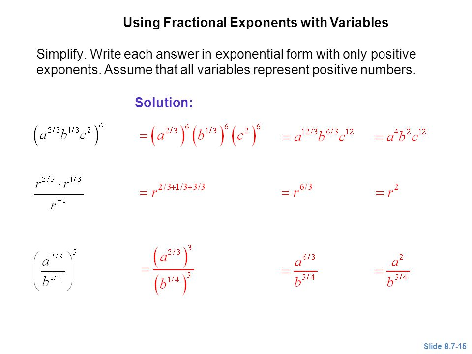 Using Fractional Exponents with Variables