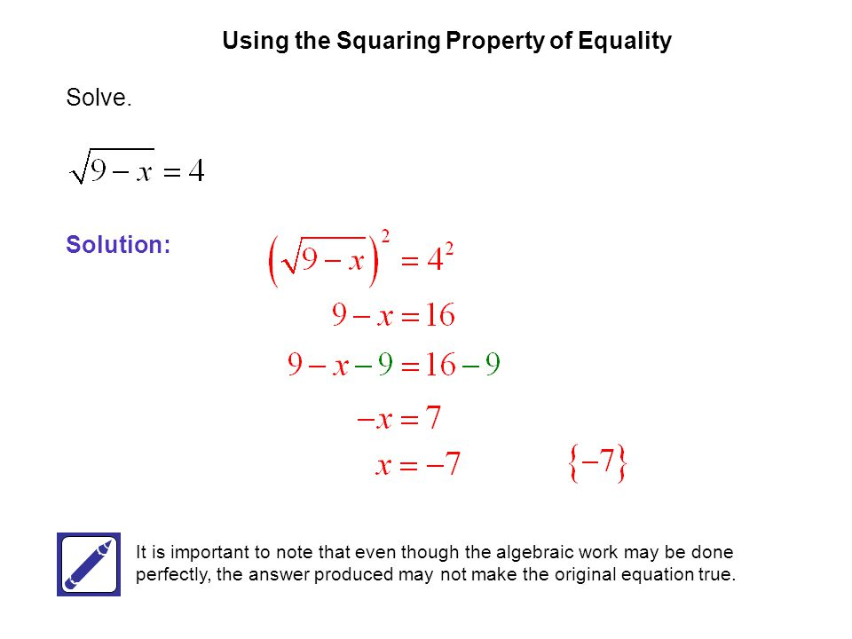Using the Squaring Property of Equality