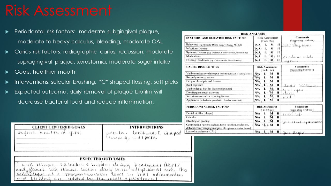 Risk Assessment Periodontal risk factors: moderate subgingival plaque,
