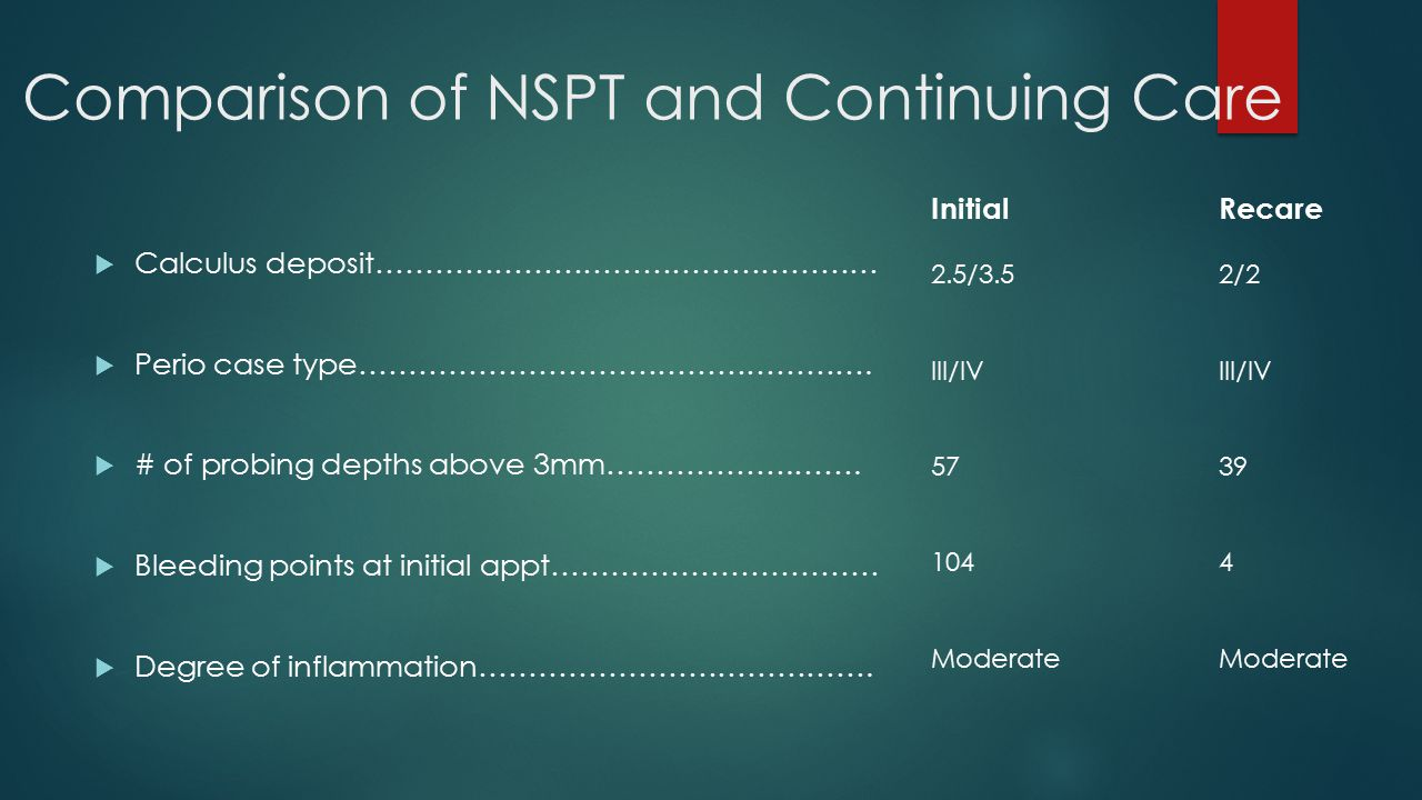 Comparison of NSPT and Continuing Care