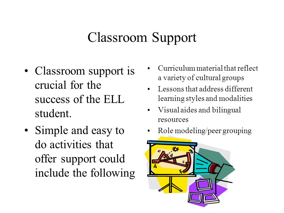 Classroom Support Classroom support is crucial for the success of the ELL student.